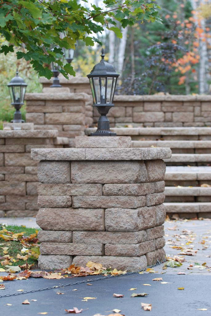 Stone path and stairway with lights