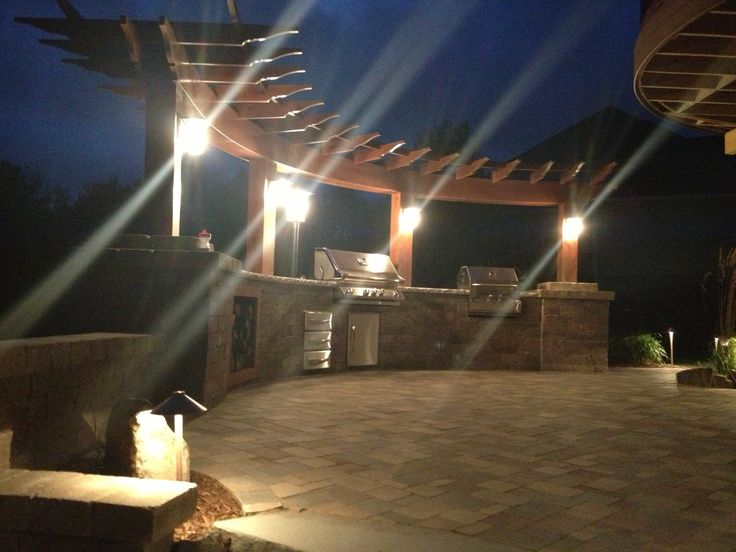 night view of outdoor patio with lights