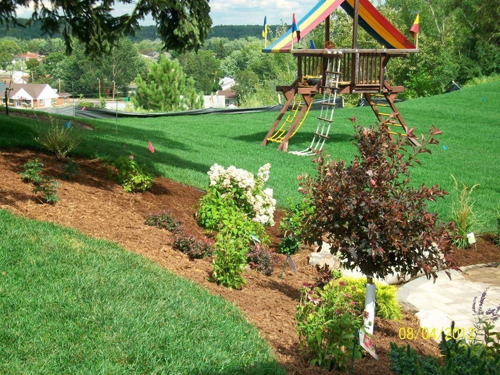 Big green yard with playground equipment